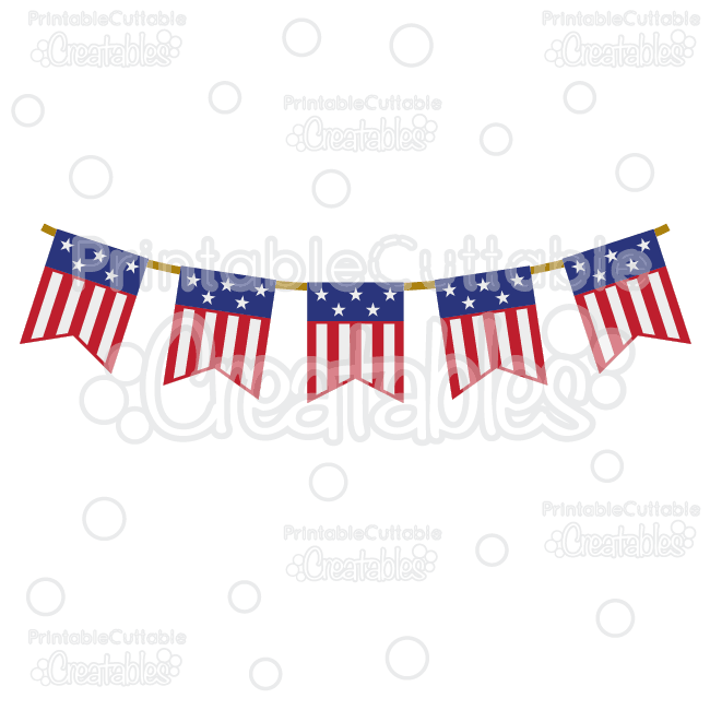 Patriotic Flag Banner Free SVG Cutting File & Clipart.
