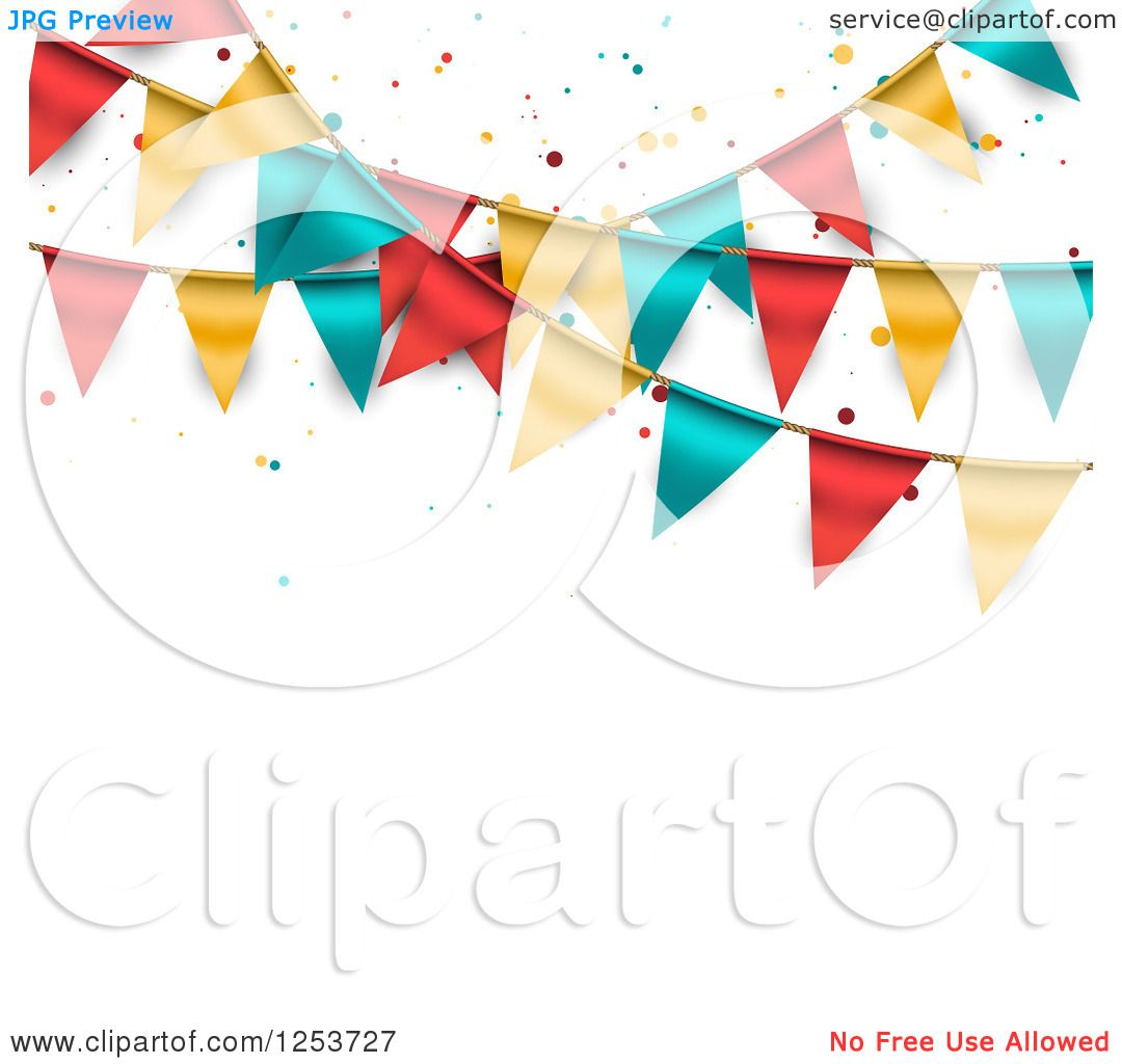 Clipart of a Festive Party Bunting Flag Banner over White with.