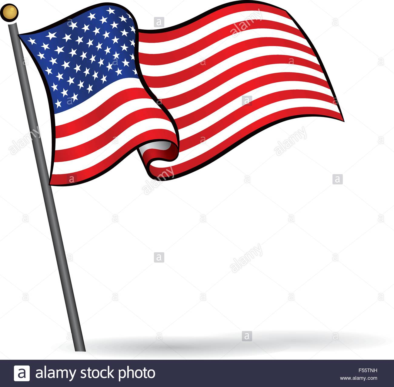USA flag waving on the wind, Vector Illustration Stock Vector Art.