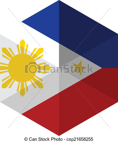 Clipart Vector of Philippines Flag Hexagon Flat Icon Button.