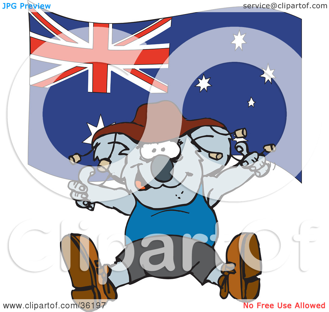 Clipart Illustration of a Koala In Clothes, Dancing In Front Of An.
