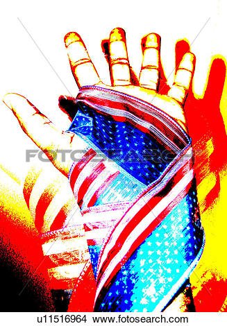 Drawings of hand with close up of flag cloth wrapped on it.