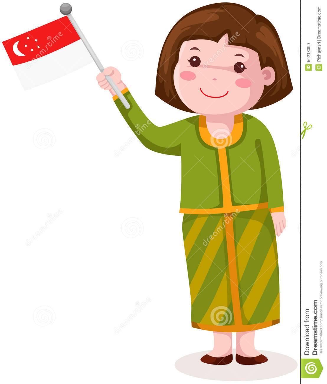 Cute Singapore Girl In Traditional Clothes With Flag Stock Vector.