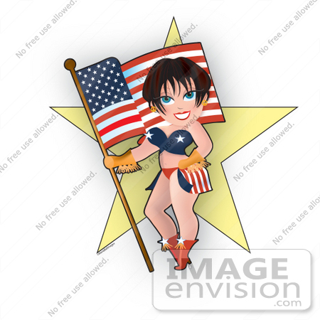 Clip Art Graphic of a Dainty Character Lady In American Clothes.