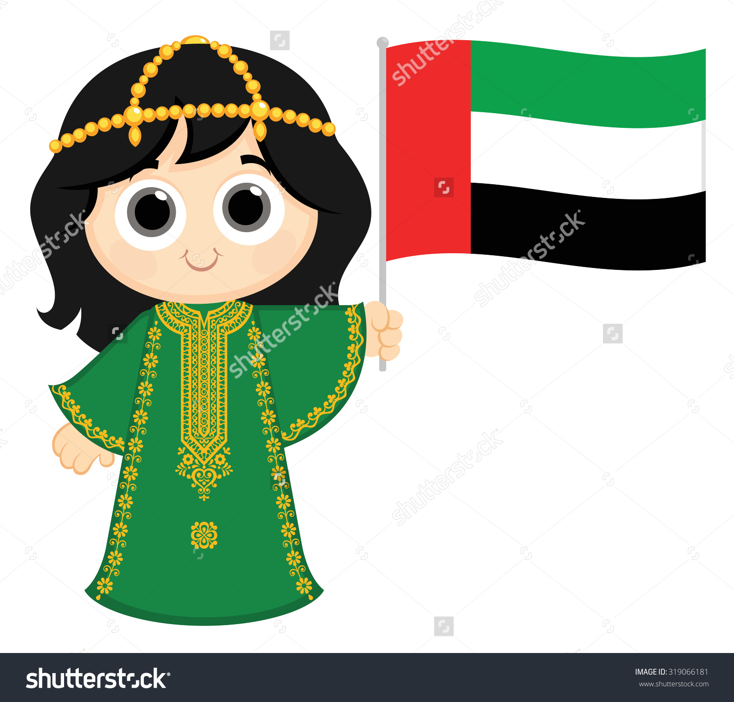 Little Girl Wearing Traditional Dress Holding Stock Vector.