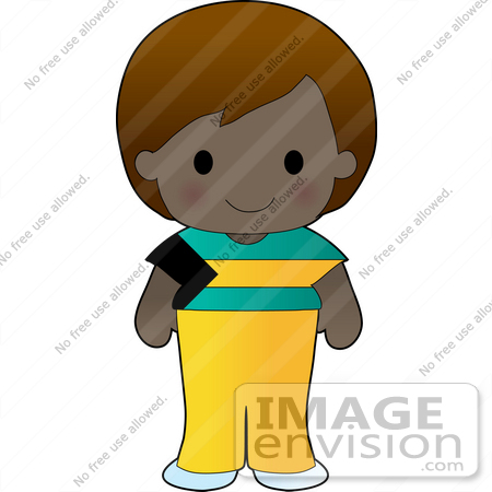 Clip Art Graphic of a Bahamian Girl Dressed in Cultural Bahamas.