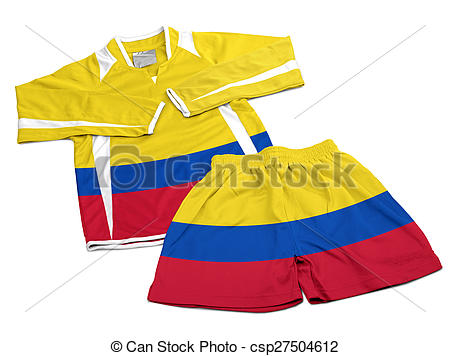 Stock Photography of Flag from Colombia on nylon soccer sportswear.