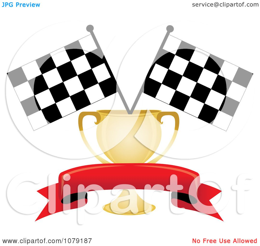 Clipart Red Banner Gold Trophy Cup And Two Checkered Race Flags.