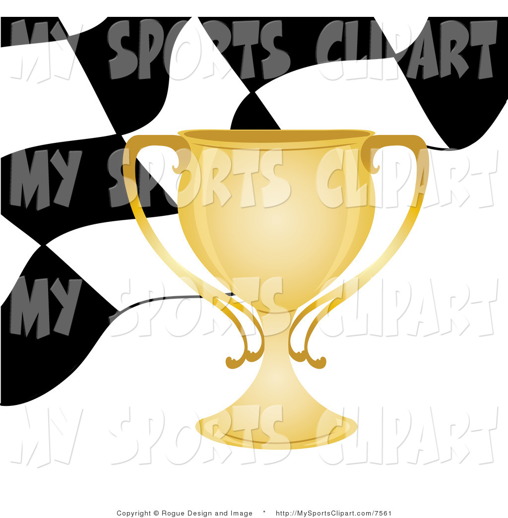 Sports Clip Art of a Gold Trophy Cup Checkered Flag Background by.