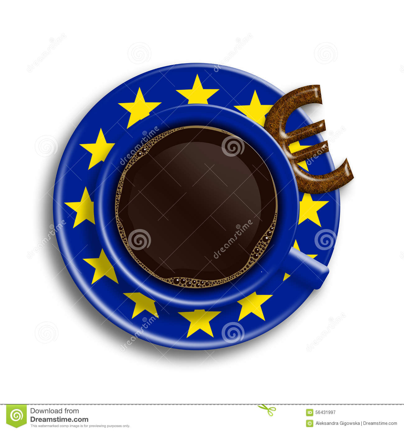 Coffee In European Union Flag Cup With Euro Cookie Over Stock.