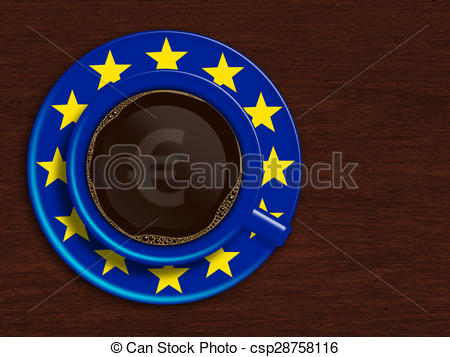 Clipart of cup of coffee with eu flag.