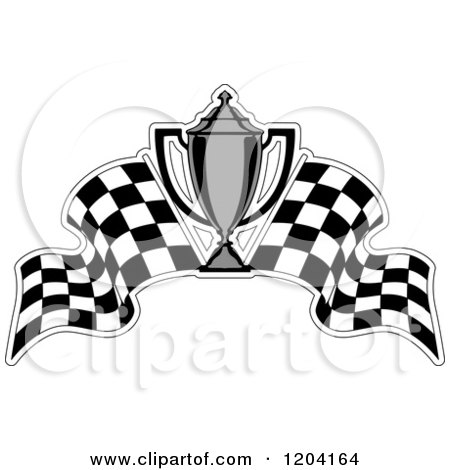 Clipart of a Grayscale Motor Sports Trophy Cup and Checkered.