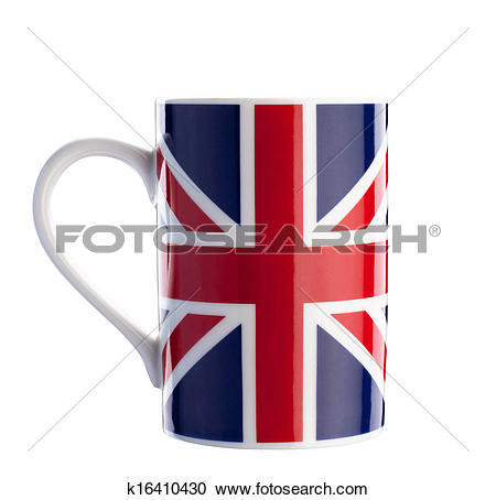 Stock Photography of British flag cup isolated with path on white.