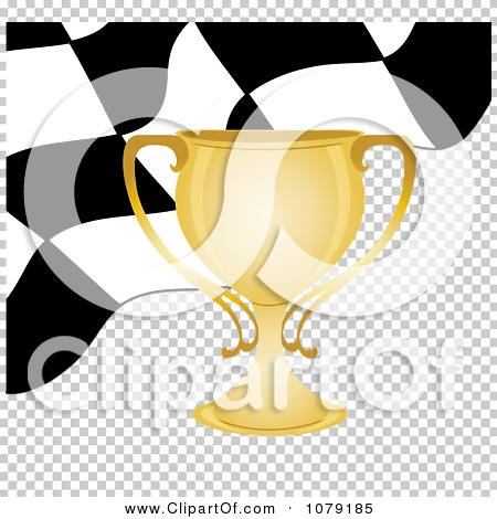 Clipart Gold Trophy Cup And Checkered Race Flag.