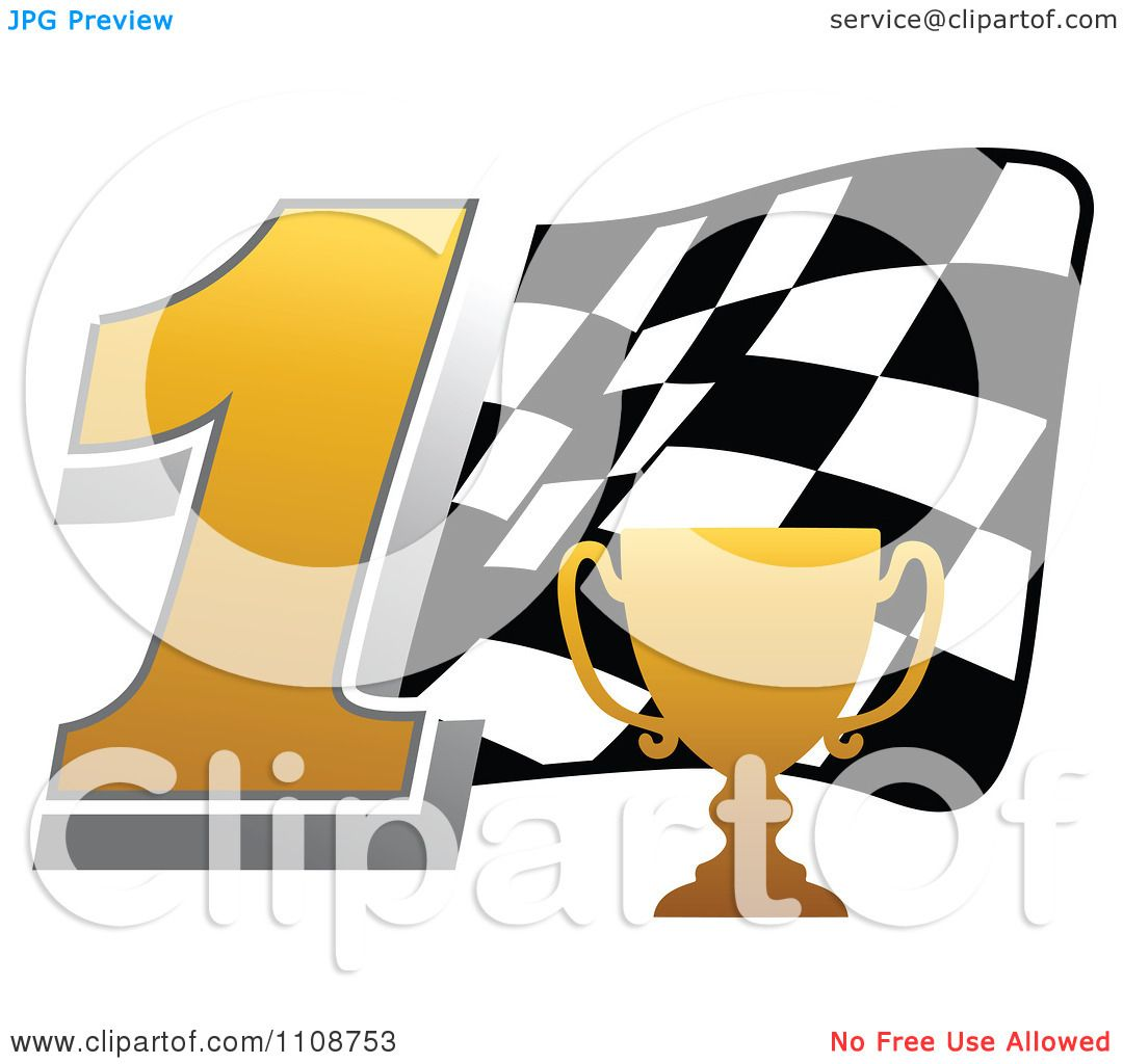 Clipart Gold Trophy Cup Number 1 And Checkered Motor Sports Racing.