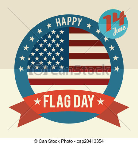 Clipart Vector of Flag Day of united states flat design card.