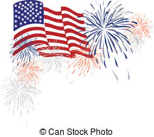 Fireworks And Flag Clipart.