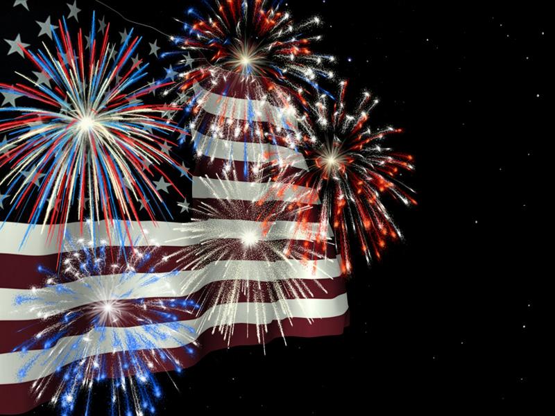 Waving America Flag Firework Clipart.