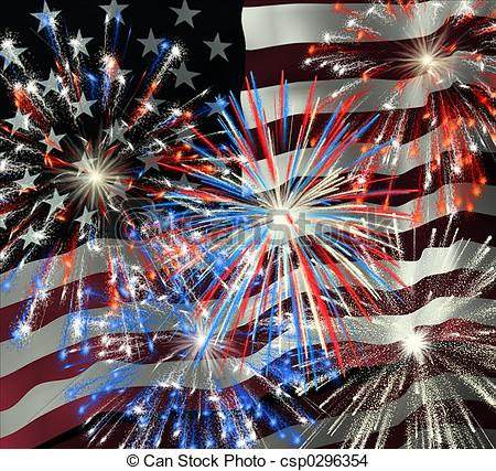 Drawing of Fireworks over US Flag 2.