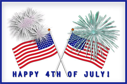 4th Of July Flag And Fireworks Clipart.