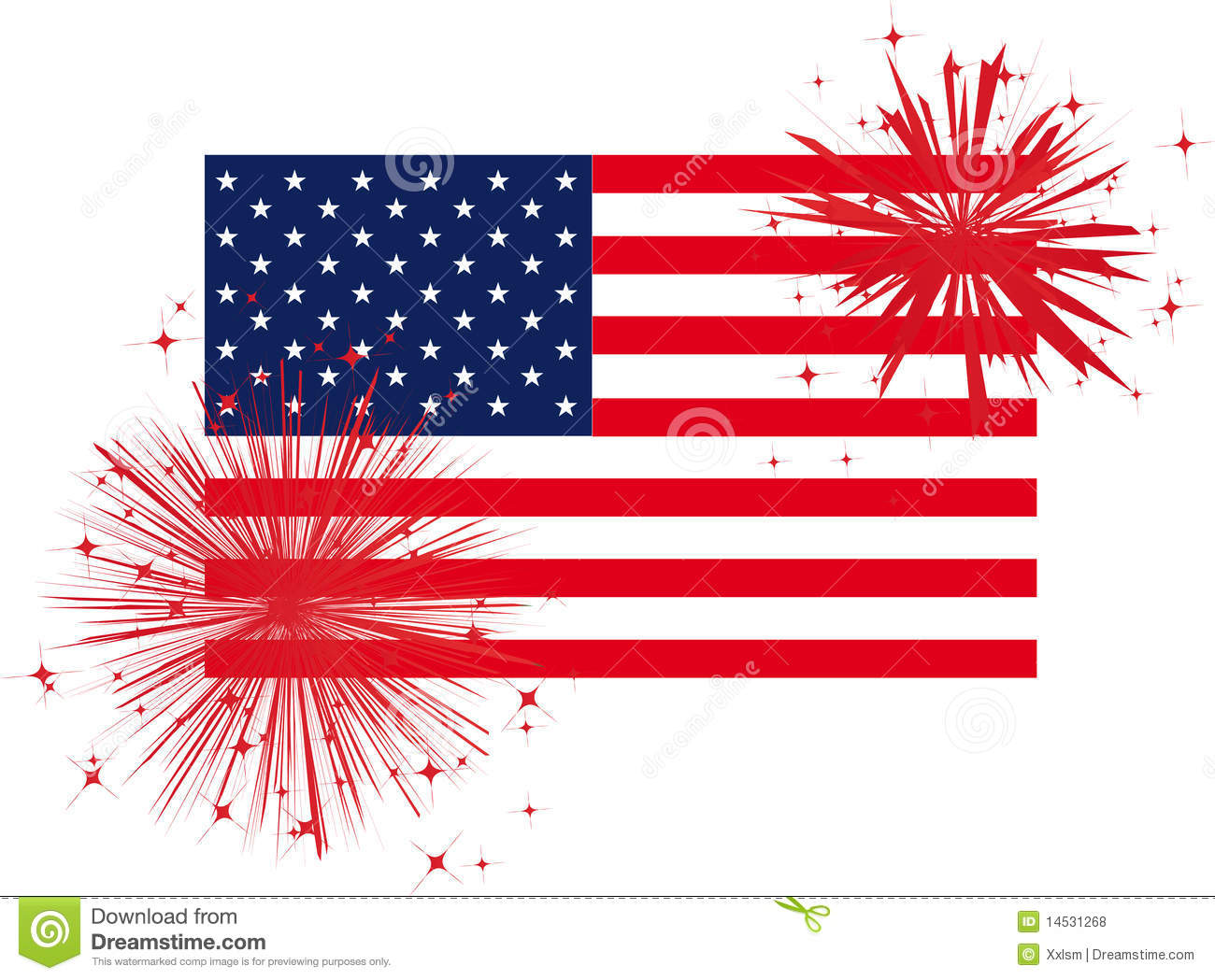 Flag And Fireworks Clipart.