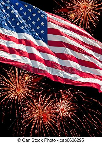 Stock Images of The American Flag and a Fireworks Display.