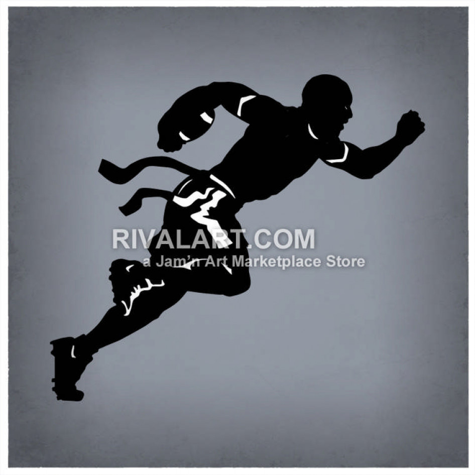 Flag Football Players Silhouette.