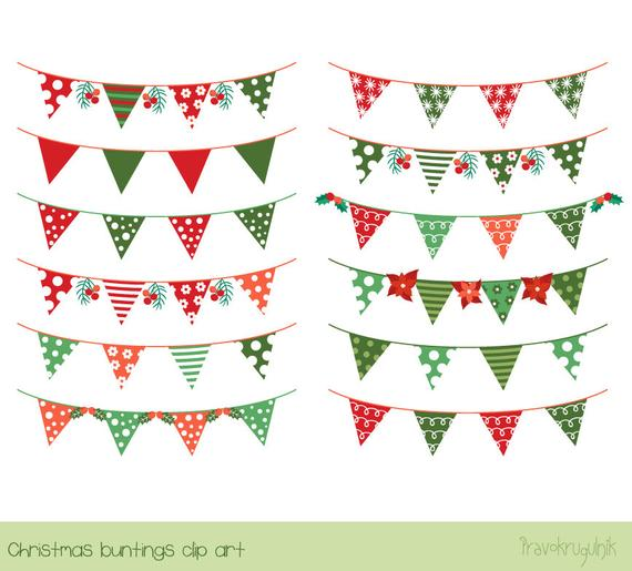 Christmas bunting clipart, Banner flag clip art, Holiday garland clipart,  Red green festive clipart, xmas mistletoe dot stripe cute.
