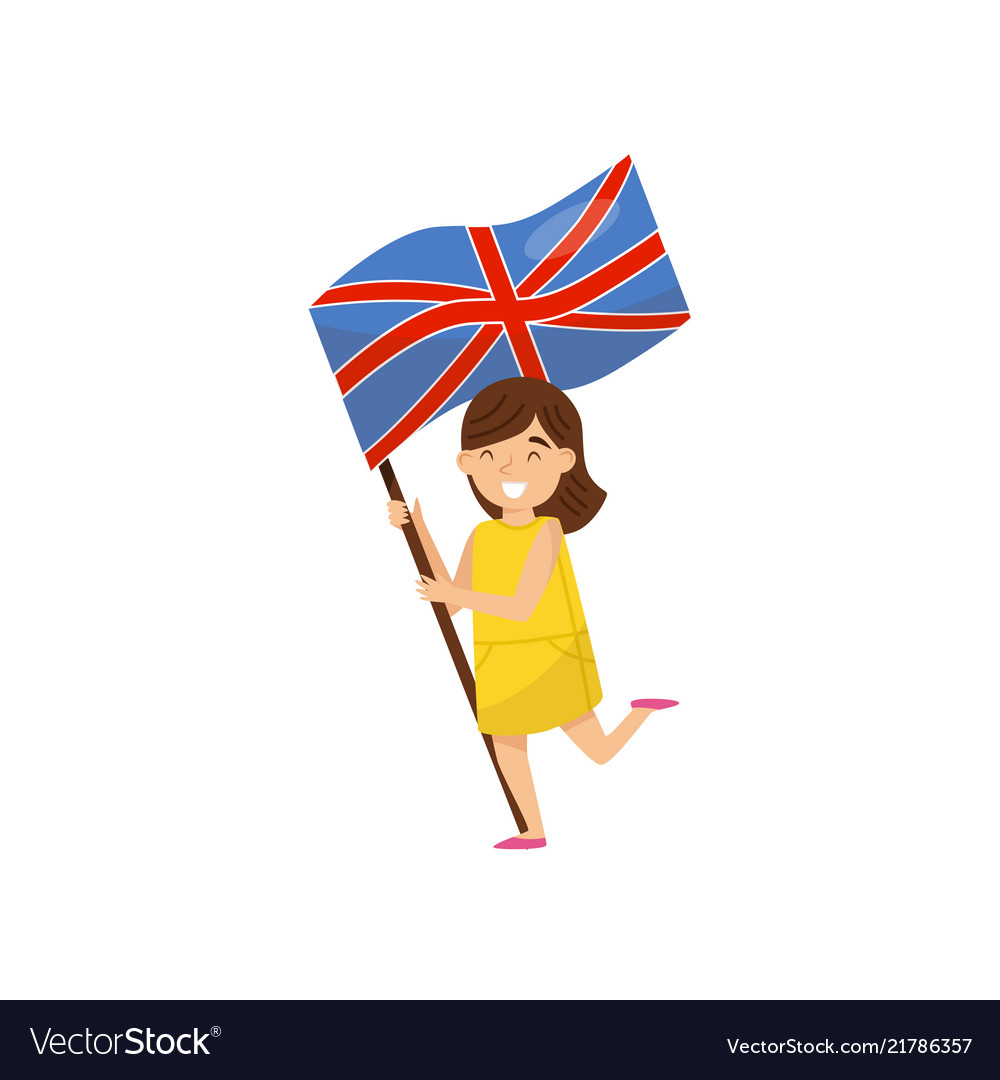 Girl holding national flag of united kingdom.