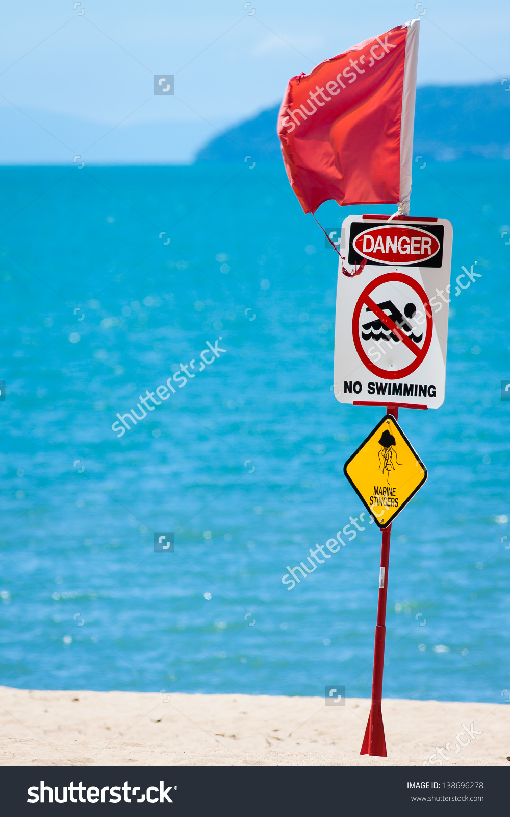 Closeup Jellyfish Marine Stinger Warning Sign Stock Photo.