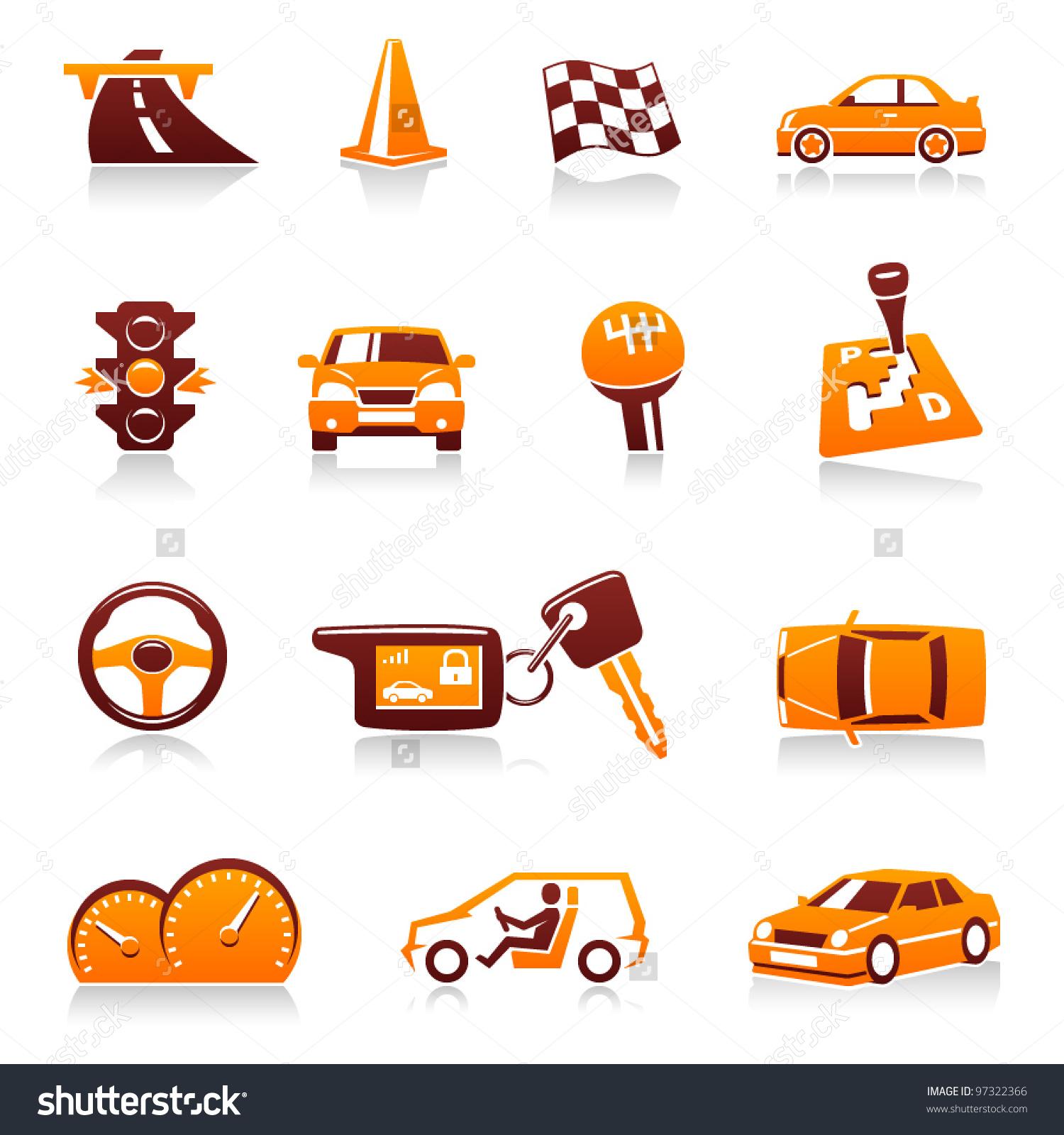 Cars Automotive Vector Icon Set Driver Stock Vector 97322366.