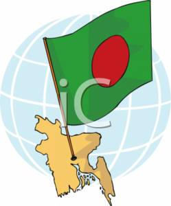 Clipart Picture of the Flag of Bangladesh and the Country.