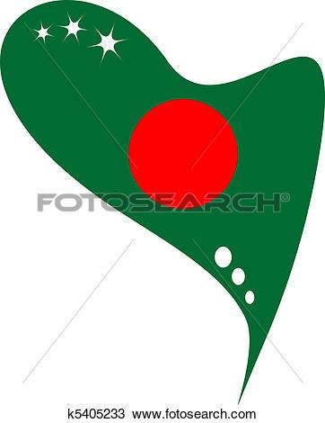 Clipart of bangladesh flag in heart k5405233.