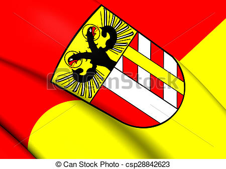 Clip Art of Flag of Bavarian Swabia, Germany. Close Up.