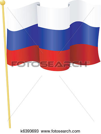 Clipart of flag of Russia. vector k6393693.