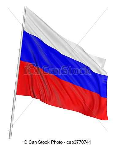 Clipart of 3D Russian flag with fabric surface texture. White.