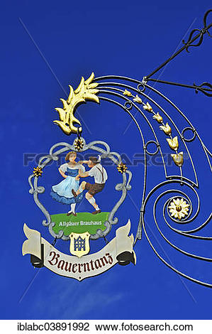 "Stock Photo of ""Hanging sign of """"""""Bauerntanz"""""""" restaurant."