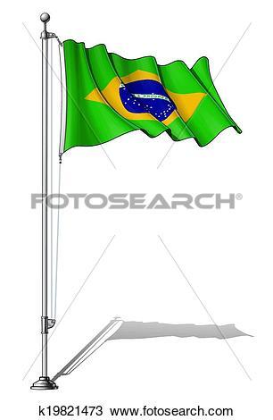 Clipart of Flag Pole Brazil k19821473.