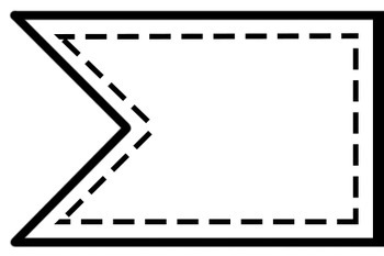 Stitched Banner Flag Clipart / Ribbon Journal Flag Tabs.