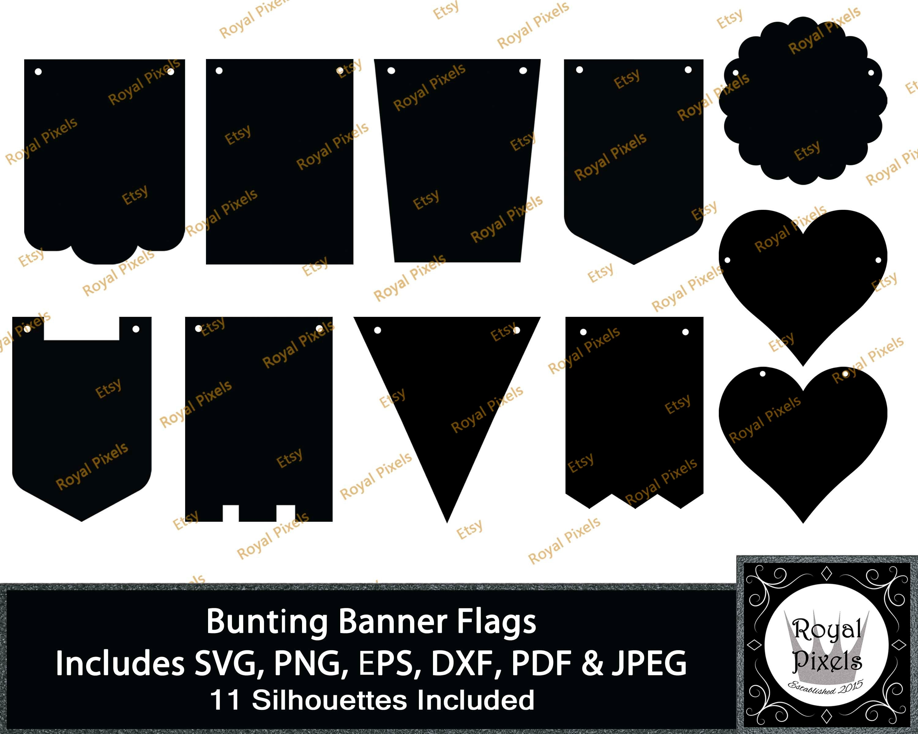 Bunting Banner Flag Silhouette Clip Art Set, Banner Flags, Banner Pennants,  11 Piece, 7 inches, Instant Download, Cutting File, Cut File #23.