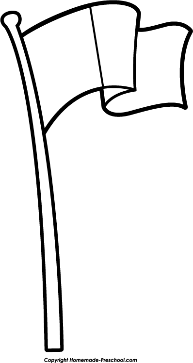 Flag Pole Clipart Black And White.