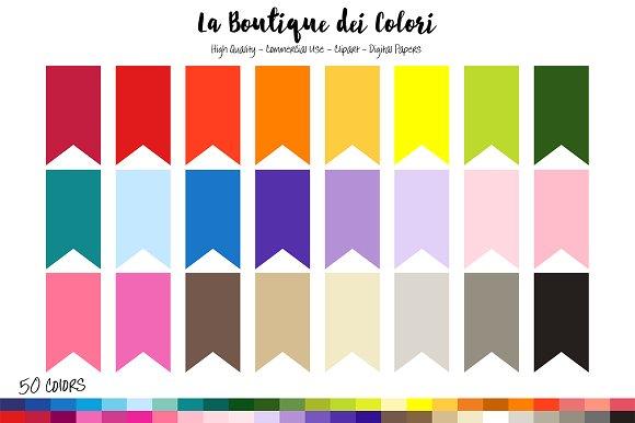 50 Rainbow Pennants flag Tag Clipart ~ Illustrations on Creative.