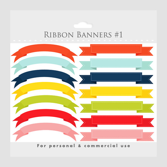 Banner clipart, stitched ribbon flags, digital ribbon clip art.