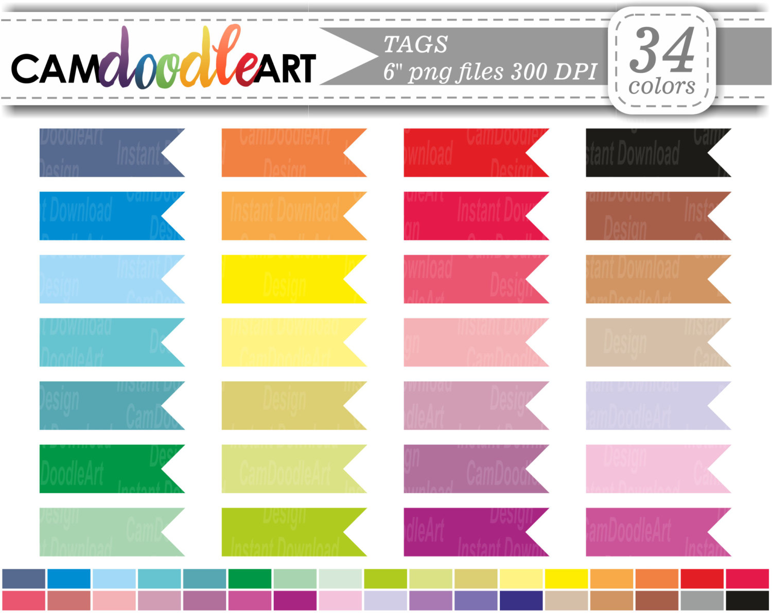 Planner Tag Clipart,Flag Clipart,Colorful Planner Flags,Pennants.
