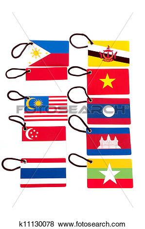 Pictures of ten asean member countries flag tag k11130078.