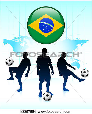 Clipart of Brazil Flag Icon on Internet Button with Soccer Team.