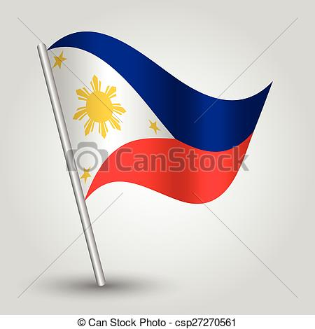 Clip Art Vector of vector waving simple triangle filipino flag on.