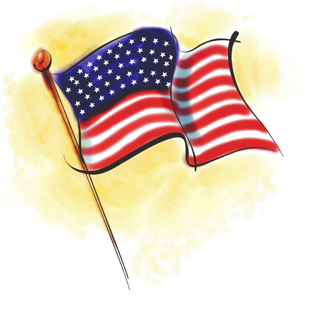 Native us american with flag clipart.