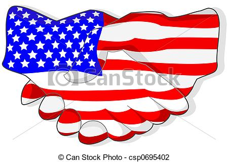 Clip Art of American handshake Illustrated american flagged.