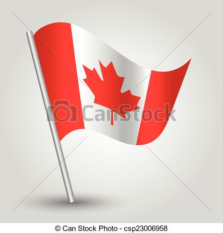 Clipart Vector of vector 3d waving canadian flag on pole.